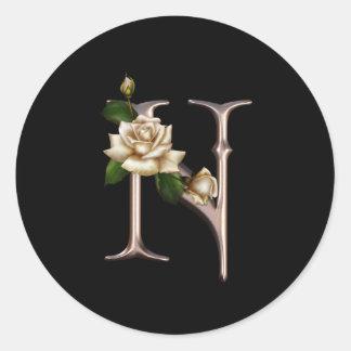 Rose Fantasy N Monogram Classic Round Sticker
