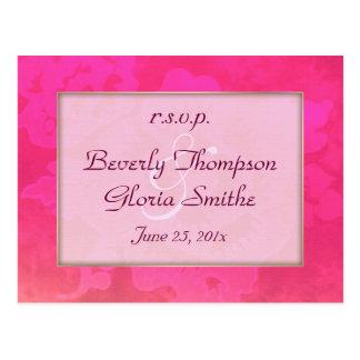 Rose Fantasy Wedding RSVP Postcard