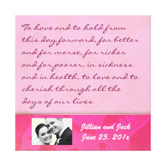 Rose Fantasy WEDDING Vows Keepsake Display Gallery Wrapped Canvas