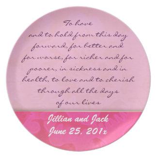 Rose Fantasy WEDDING Vows Keepsake Display Melamine Plate