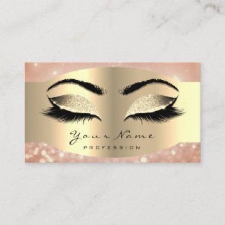 Rose Faux Gold Makeup Artist Lash Black Brows Appointment Card