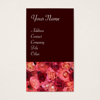 ROSE FIELD ,bright vibrant  red  pink brown Business Card