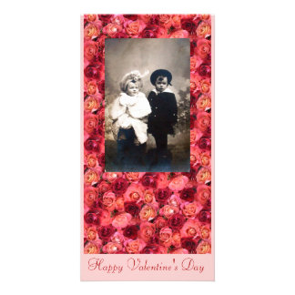 ROSE FIELD ,bright vibrant  red  pink Photo Card