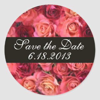 ROSE FIELD ,Save the Date Classic Round Sticker