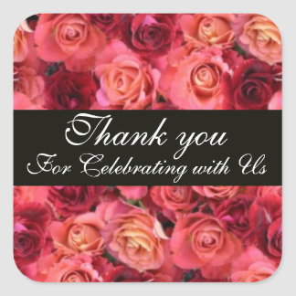 ROSE FIELD ,Thank you Square Sticker