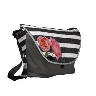 Rose Floral Black & White Stripes - Messenger Bag