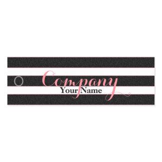 Rose Floral Black & White Stripes - Price Tag Mini Business Card