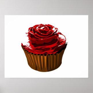 Rose floral design cupcake poster