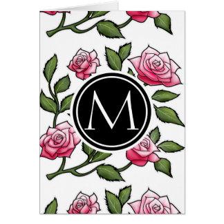 Rose Floral Illustration and Monogram Card
