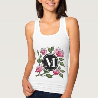 Rose Floral Illustration and Monogram T-shirt