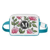 Rose Floral Illustration and Monogram Waist Bag