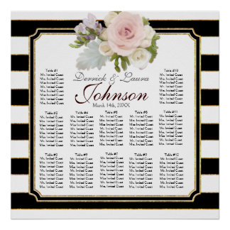 Rose Floral Modern Reception Table Seating Chart Poster
