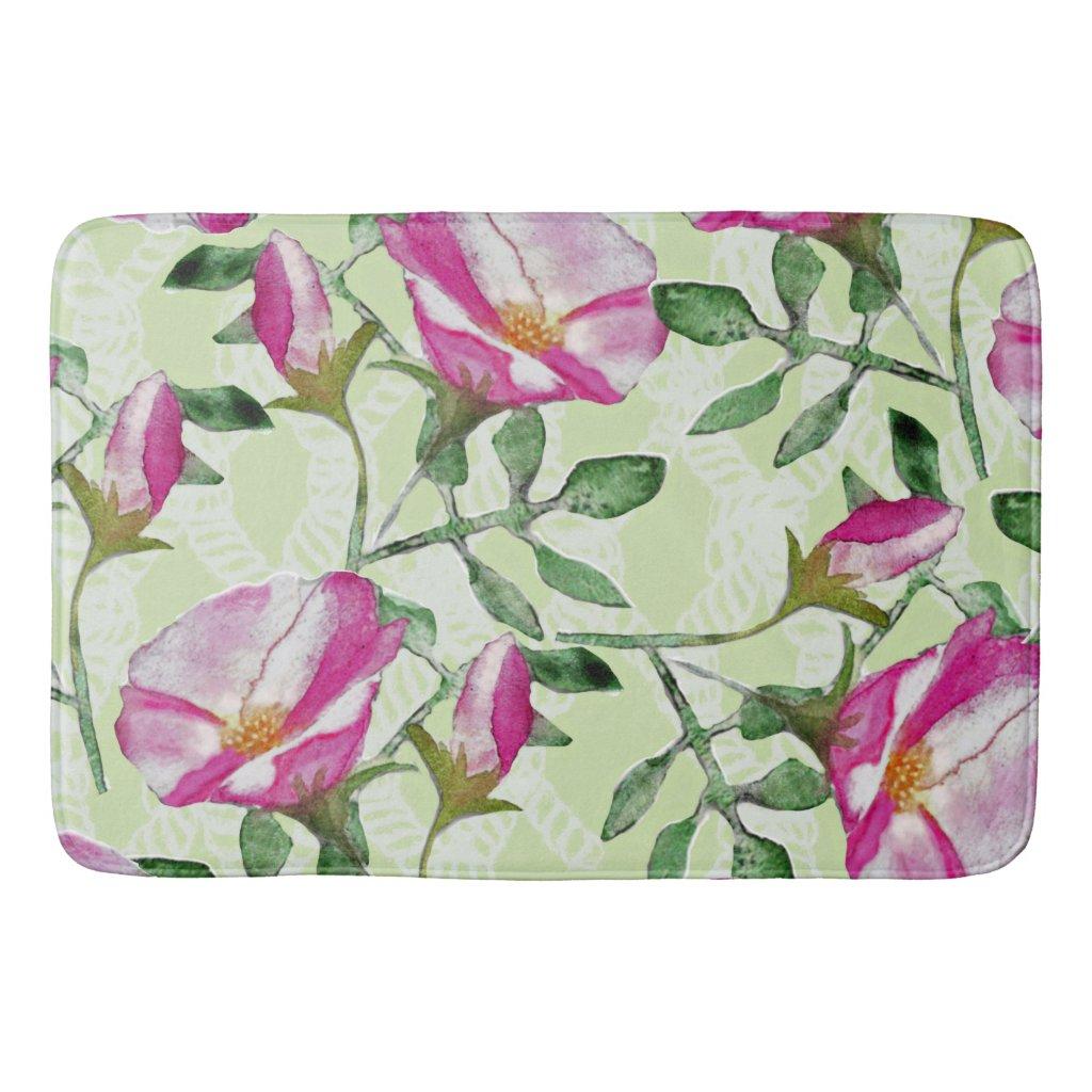 Rose Floral Print Bath Mat