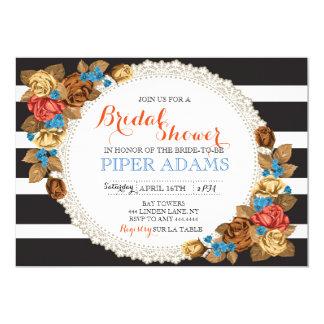 Rose Floral Striped Bridal Shower Invitation