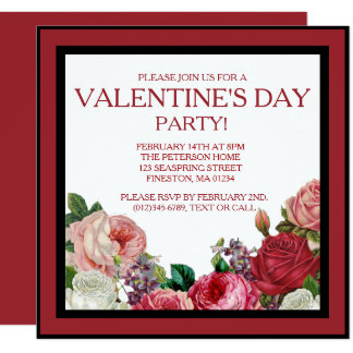 Rose Floral Valentines Party Invitation