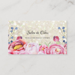 Rose Floral White Glitter Sparkle Hair and Beauty Business Card