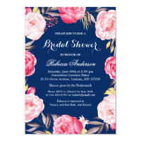 Rose Floral Wreath Navy Blue Bridal Shower Card