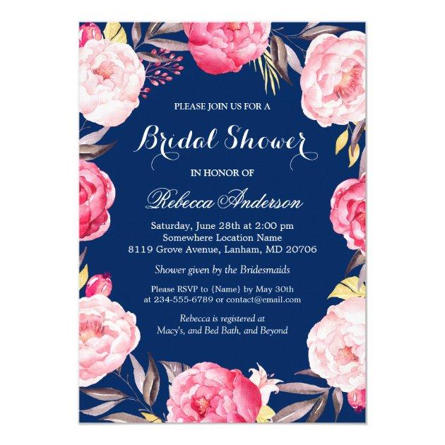 Rose Floral Wreath Navy Blue Bridal Shower Card