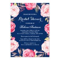 Rose Floral Wreath Navy Blue Bridal Shower Invitation