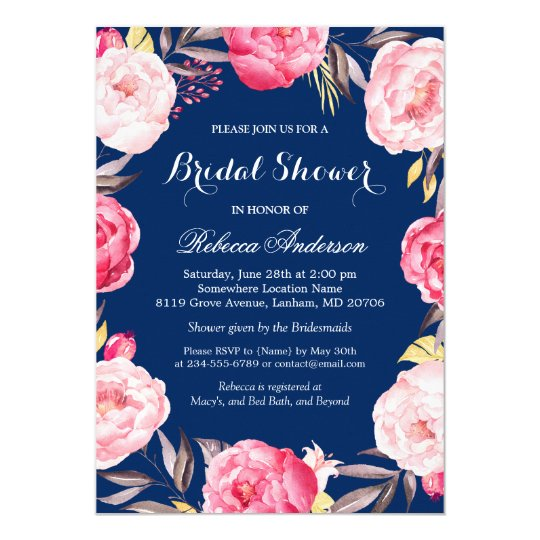 Rose floral wreath navy blue bridal shower invitation zazzle rose floral wreath navy blue bridal shower invitation filmwisefo