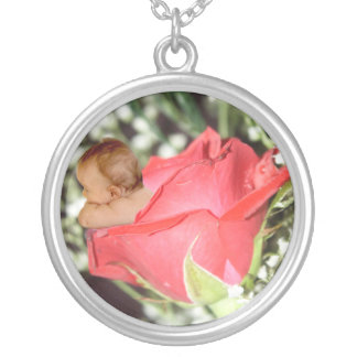 Rose Flower Baby Round Pendant Necklace