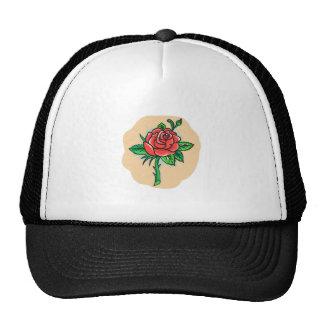 Rose Flower Bud Leaves Thorn Tattoo Trucker Hat