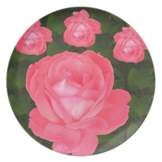 Rose Flower Bunch  TEMPLATE DIY add TEXT GREETING Plate