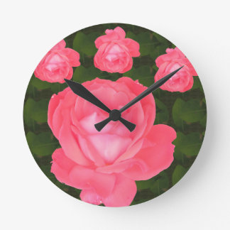 Rose Flower Bunch  TEMPLATE DIY add TEXT GREETING Round Clock