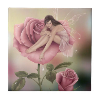 Rose Flower Fairy Art Tile