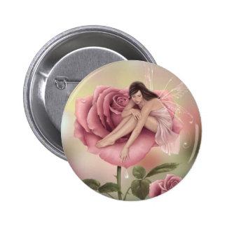 Rose Flower Fairy Button Badge