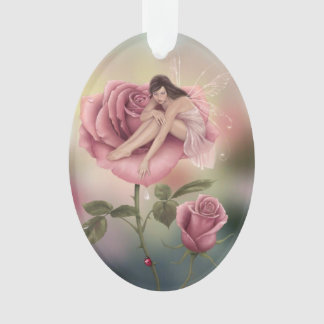 Rose Flower Fairy Oval Ornament