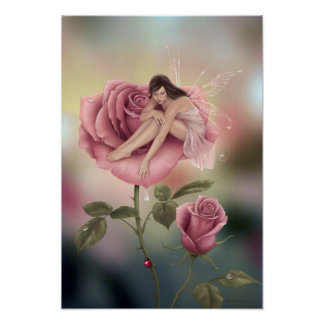 Rose Flower Fairy Poster Art Print