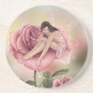 Rose Flower Fairy Sandstone Drink Coaster