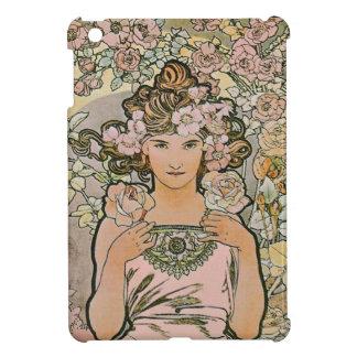 Rose Flower Girl Art Nouveau iPad Mini Covers