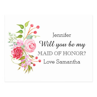 Rose flower mix   Maid of Honor Postcard