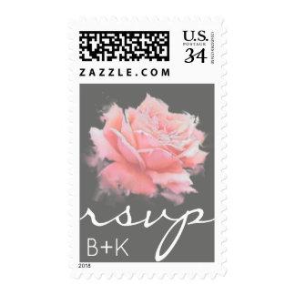 rose flower on gray r.s.v.p. / nice rsvp wedding postage
