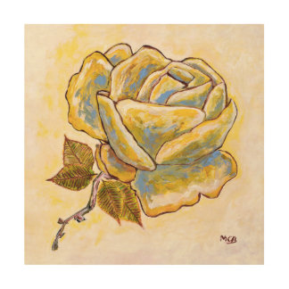 Rose Flower on Wood Canvas by French Painter MCB