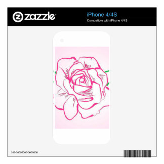 Rose Flower Outline Pink Red Abstract Illustration iPhone 4S Decal