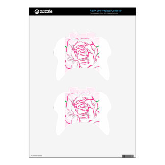 Rose Flower Outline Pink Red Abstract Illustration Xbox 360 Controller Skin