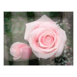 rose flower painted strokes pink roses flyer design