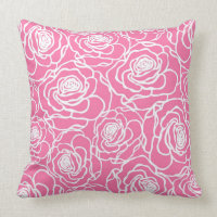 Rose Flower Pattern Throw Pillow Home Decor