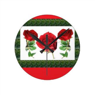 ROSE FLOWER ROUND CLOCK