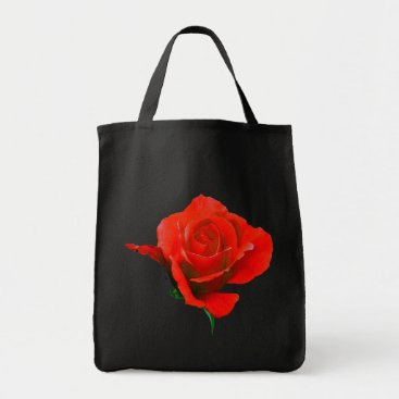 Beach Themed Rose Flower Tote Bag Red Rose Beach Tote Bags