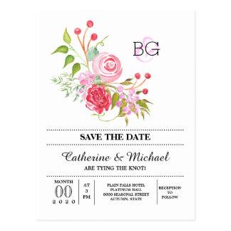 Rose flower watercolor monogram wedding postcard