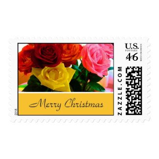 Rose flowers Christmas stamps.