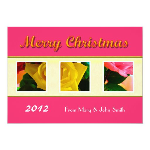 Rose flowers family photo Christmas greeting card