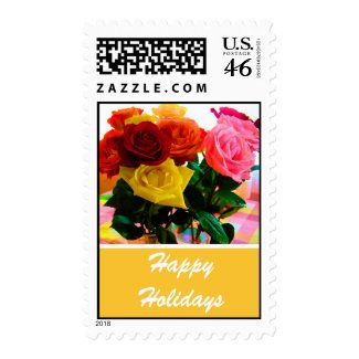 Rose flowers holiday stamps.