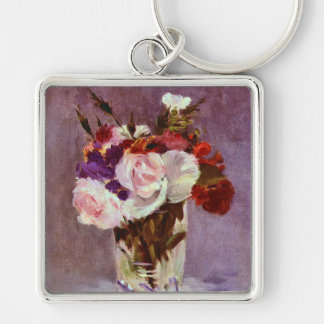 Rose Flowers in a Crystal Vase Keychain