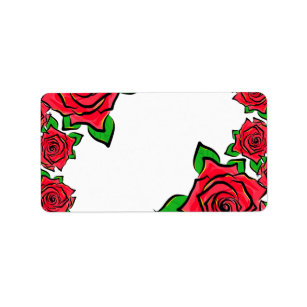 Rose Flowers Painting Border Red Roses Petals Art Label