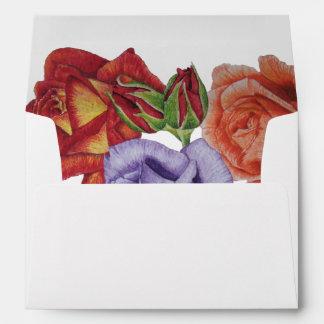 rose flowers red purple peach floral art design envelope